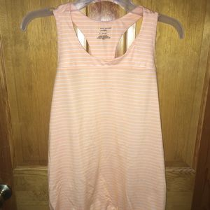 Orange and white striped athletic tank top